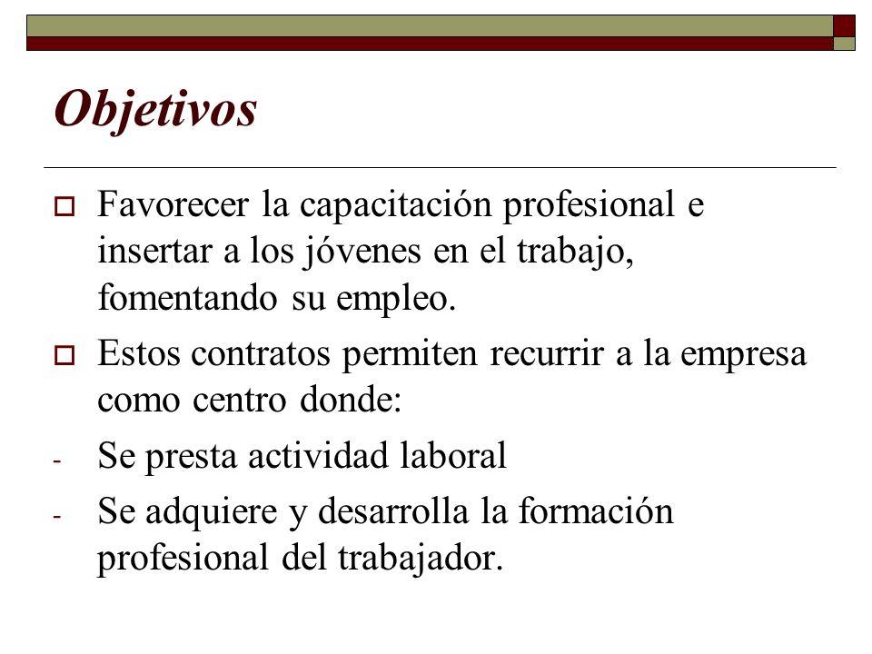 Objetivos Favorecer la capacitación profesional e insertar a los jóvenes en el trabajo, fomentando su empleo.