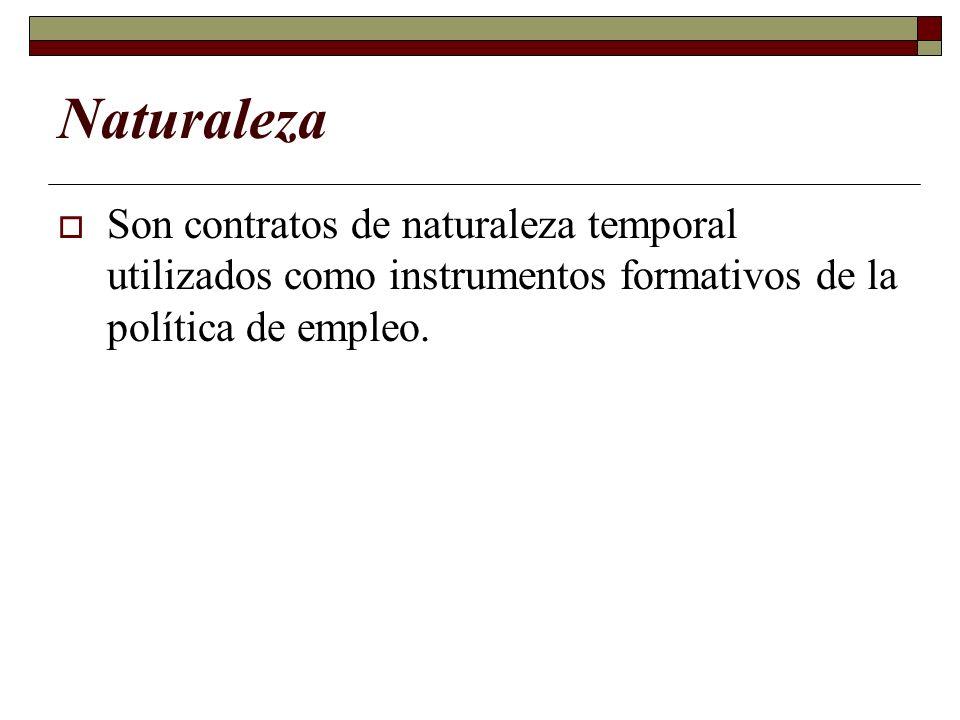 NaturalezaSon contratos de naturaleza temporal utilizados como instrumentos formativos de la política de empleo.