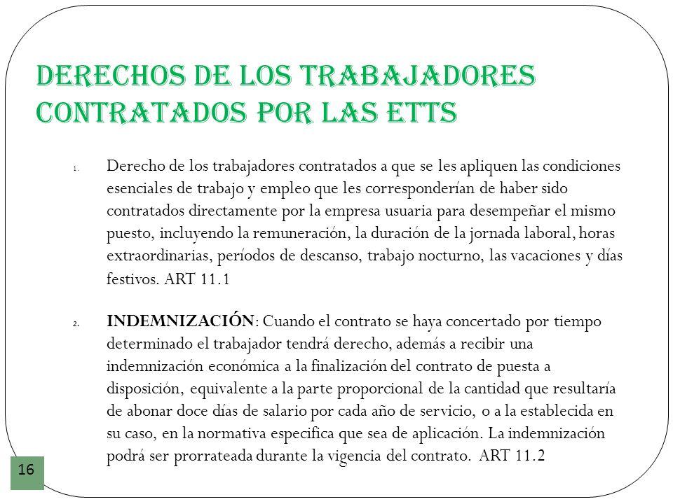 Derechos de los trabajadores contratados por las ETTs