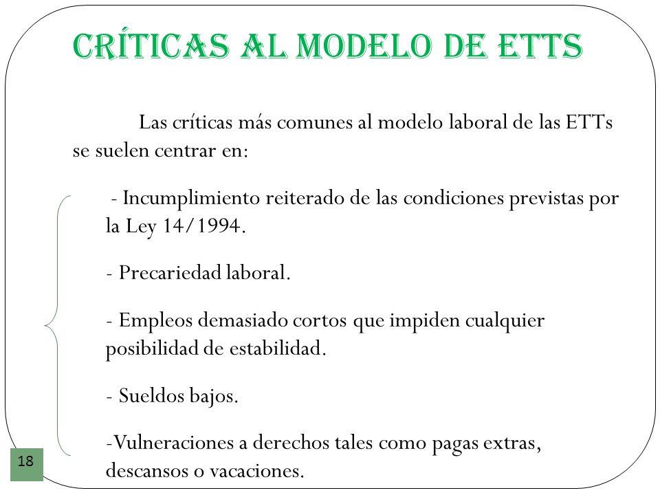 Críticas al modelo de ETTs