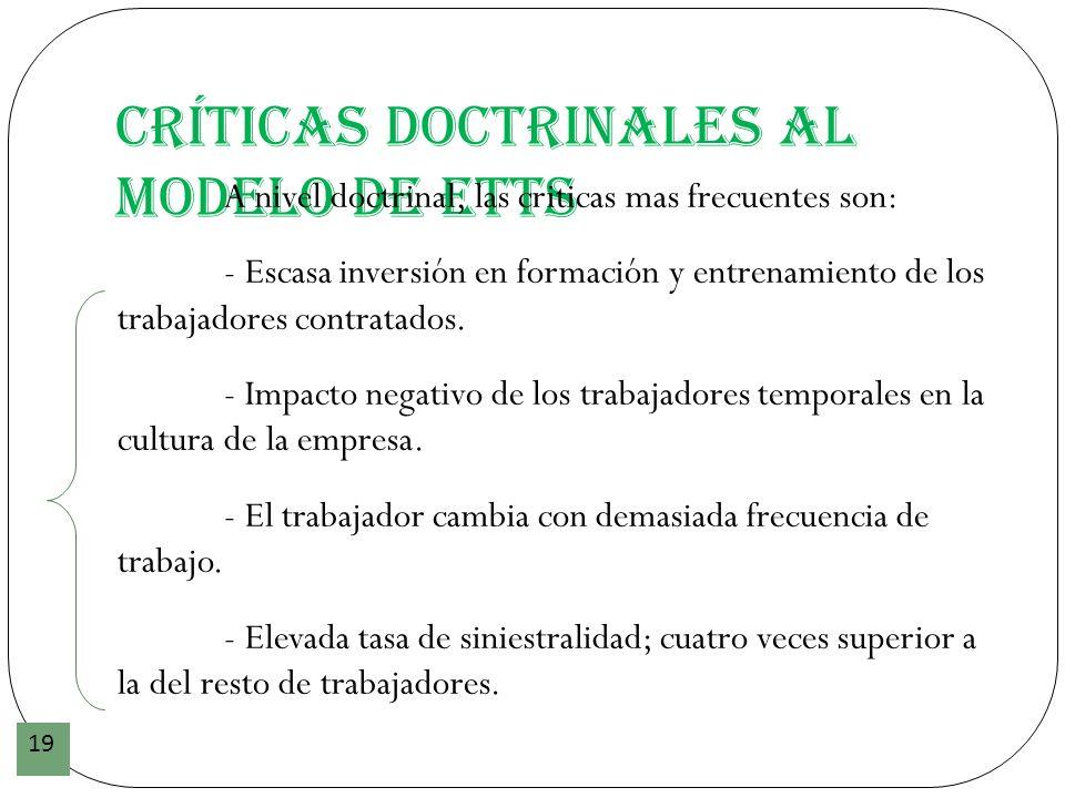 Críticas doctrinales al modelo de ETTs