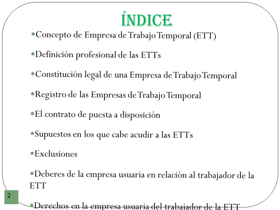 Índice Concepto de Empresa de Trabajo Temporal (ETT)