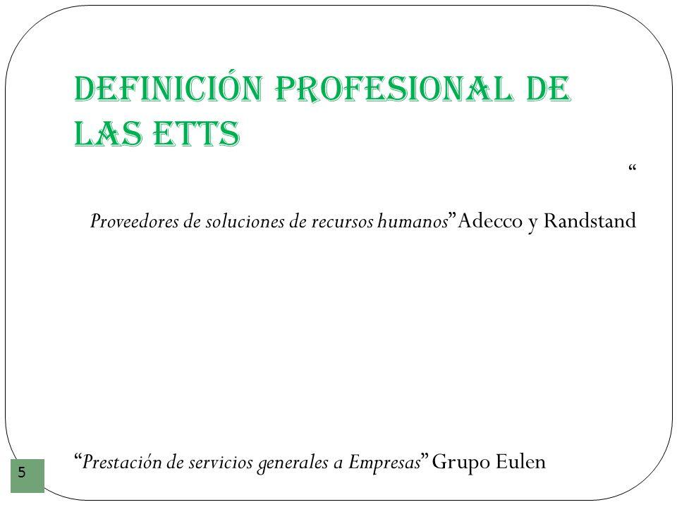 Definición profesional de las ETTs