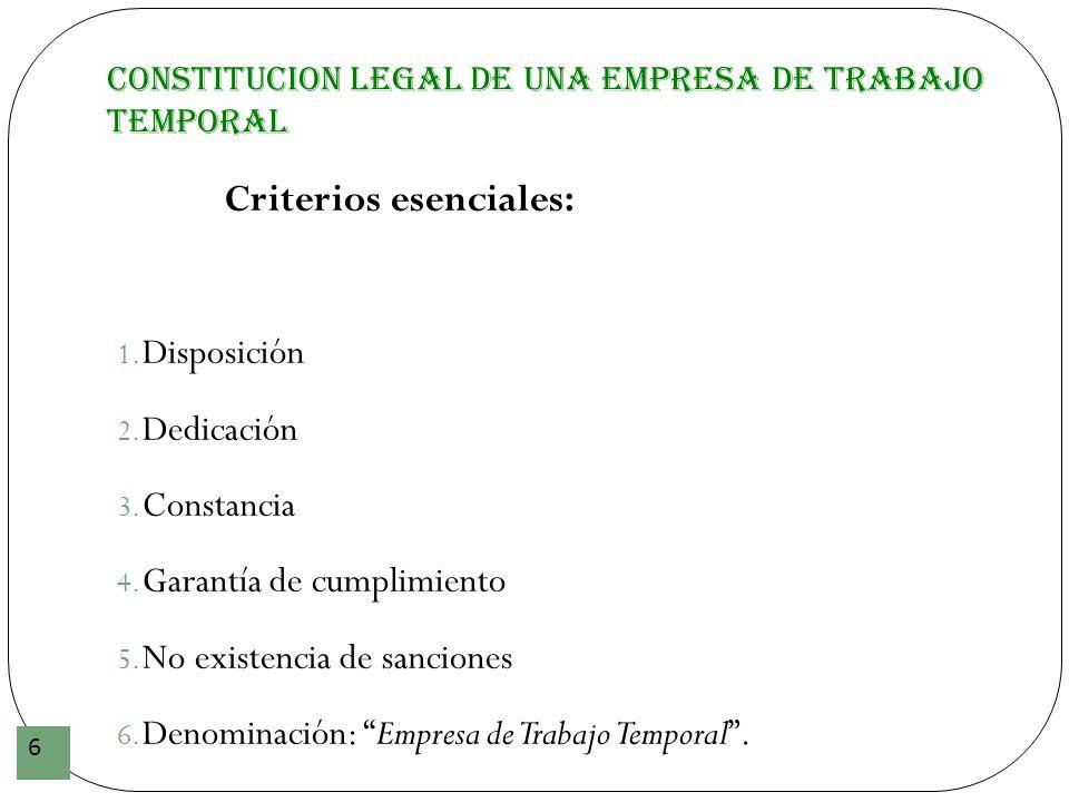 CONSTITUCION LEGAL DE UNA EMPRESA DE TRABAJO TEMPORAL