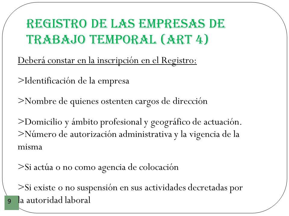 Registro de las Empresas de Trabajo Temporal (art 4)
