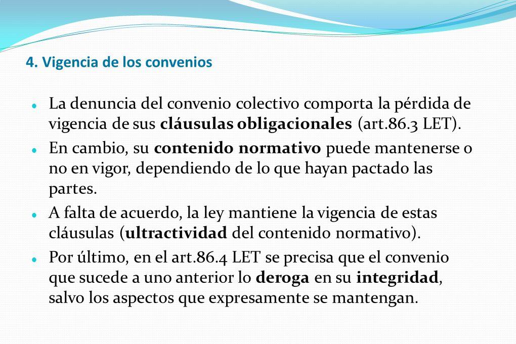 4. Vigencia de los convenios