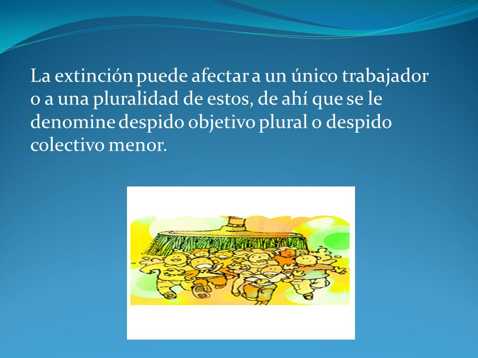 La extinción puede afectar a un único trabajador o a una pluralidad de estos, de ahí que se le denomine despido objetivo plural o despido colectivo menor.