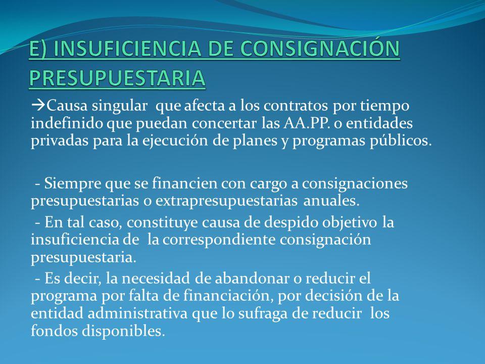 E) INSUFICIENCIA DE CONSIGNACIÓN PRESUPUESTARIA