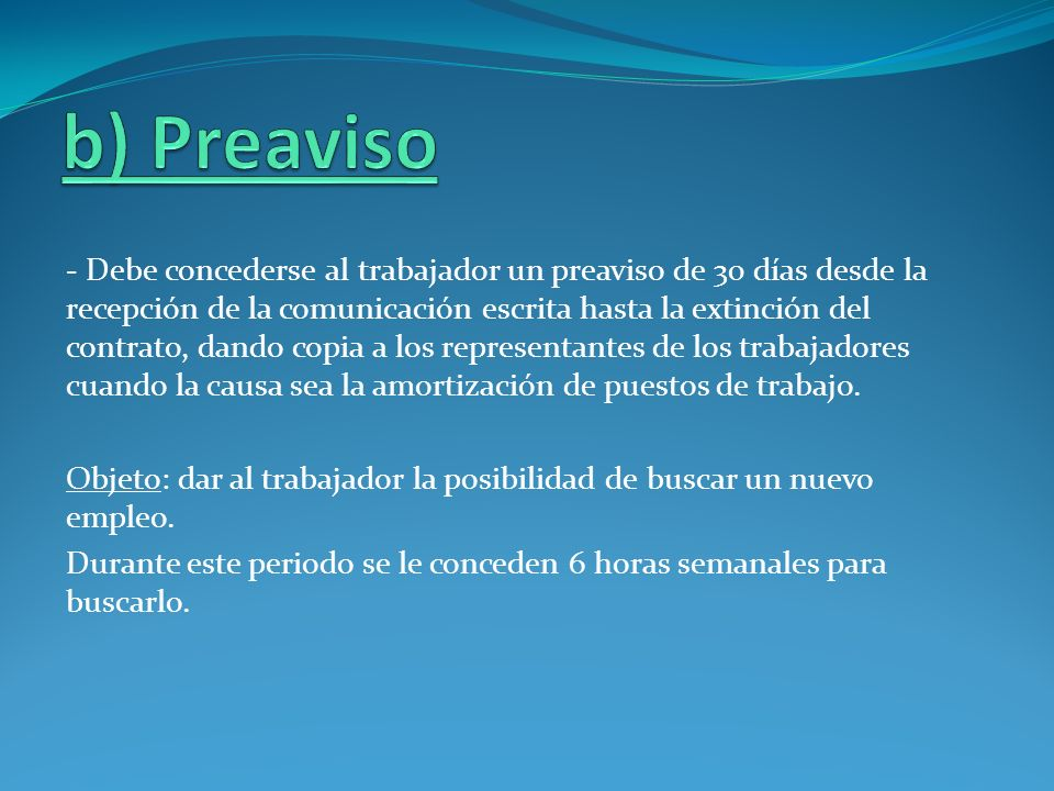 b) Preaviso