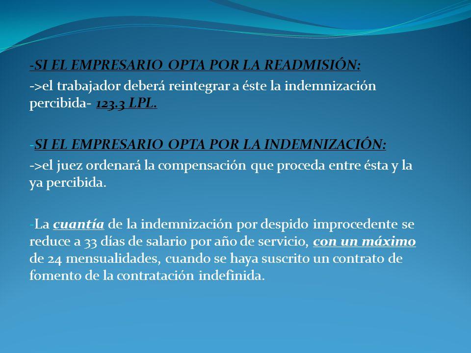 -SI EL EMPRESARIO OPTA POR LA READMISIÓN: