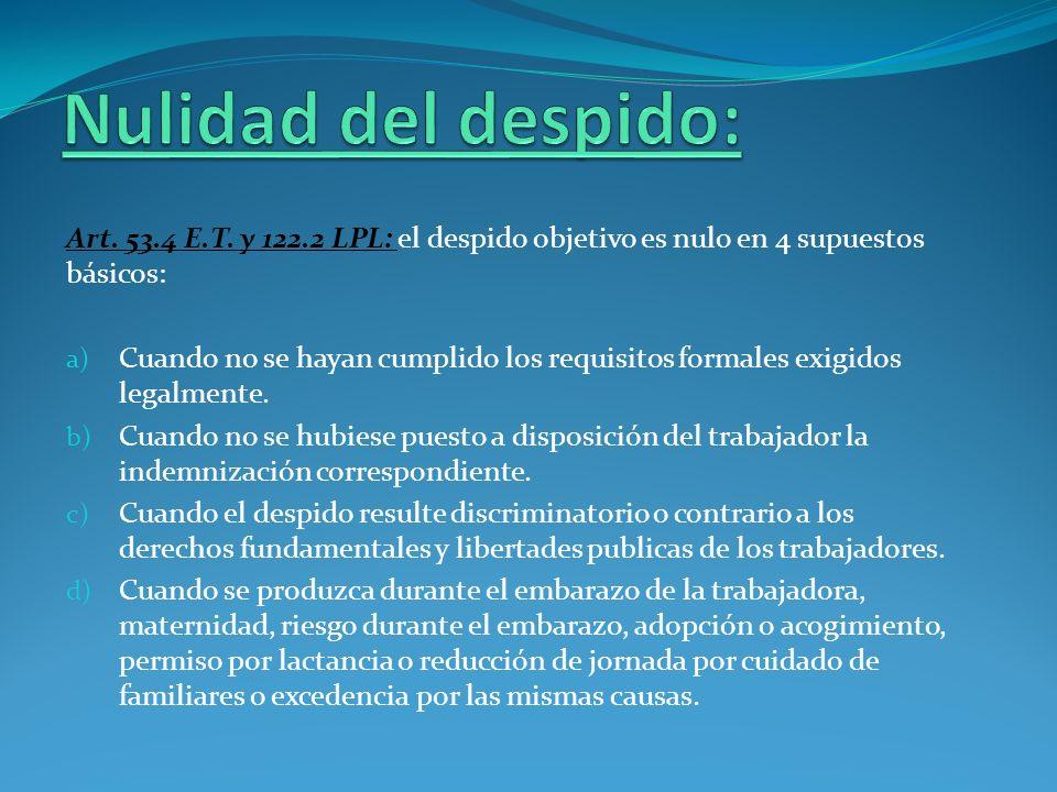 Nulidad del despido:Art. 53.4 E.T. y 122.2 LPL: el despido objetivo es nulo en 4 supuestos básicos:
