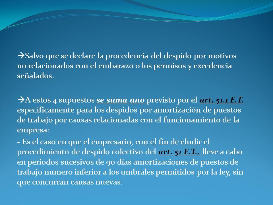 Salvo que se declare la procedencia del despido por motivos no relacionados con el embarazo o los permisos y excedencia señalados.