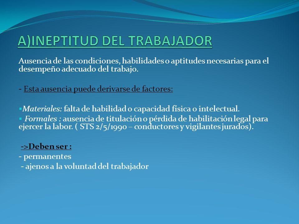 A)INEPTITUD DEL TRABAJADOR