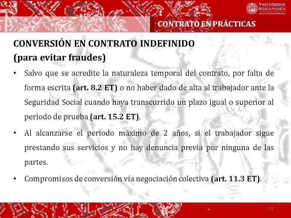 CONVERSIÓN EN CONTRATO INDEFINIDO (para evitar fraudes)