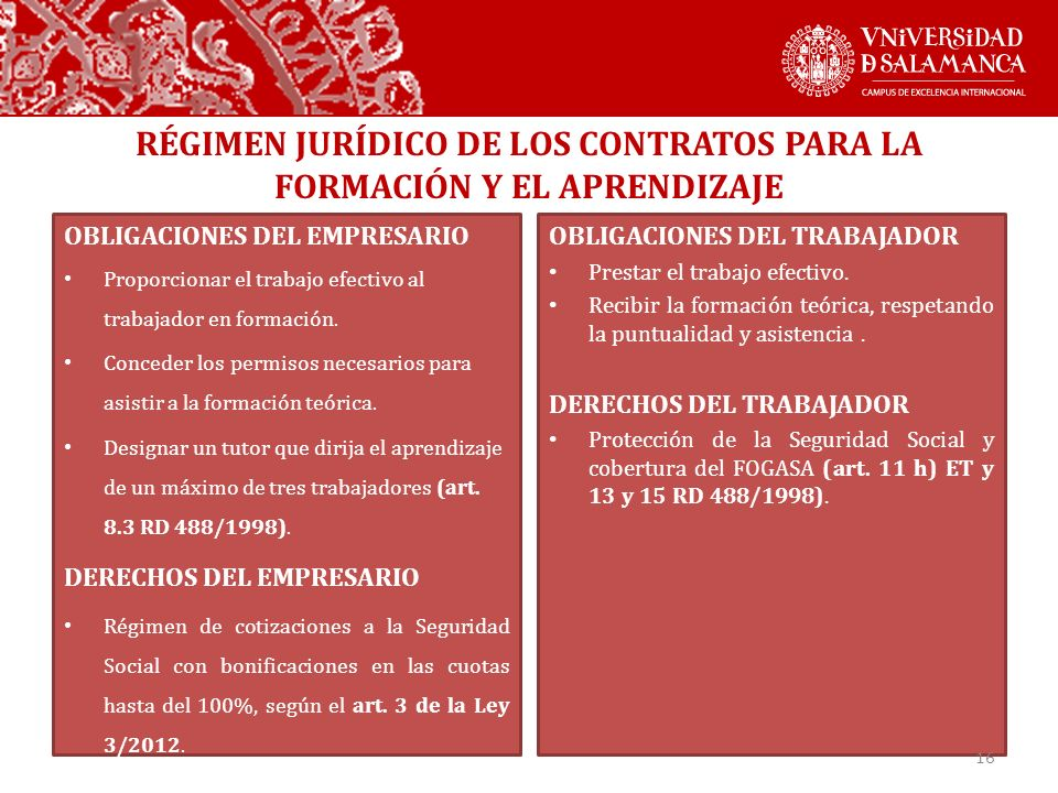 RÉGIMEN JURÍDICO DE LOS CONTRATOS PARA LA FORMACIÓN Y EL APRENDIZAJE