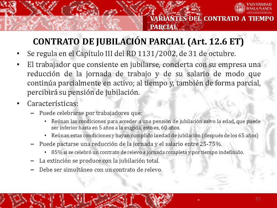 VARIANTES DEL CONTRATO A TIEMPO PARCIAL
