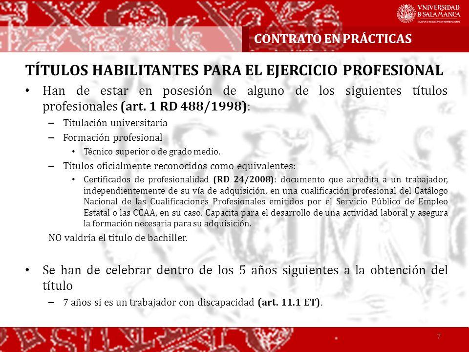TÍTULOS HABILITANTES PARA EL EJERCICIO PROFESIONAL