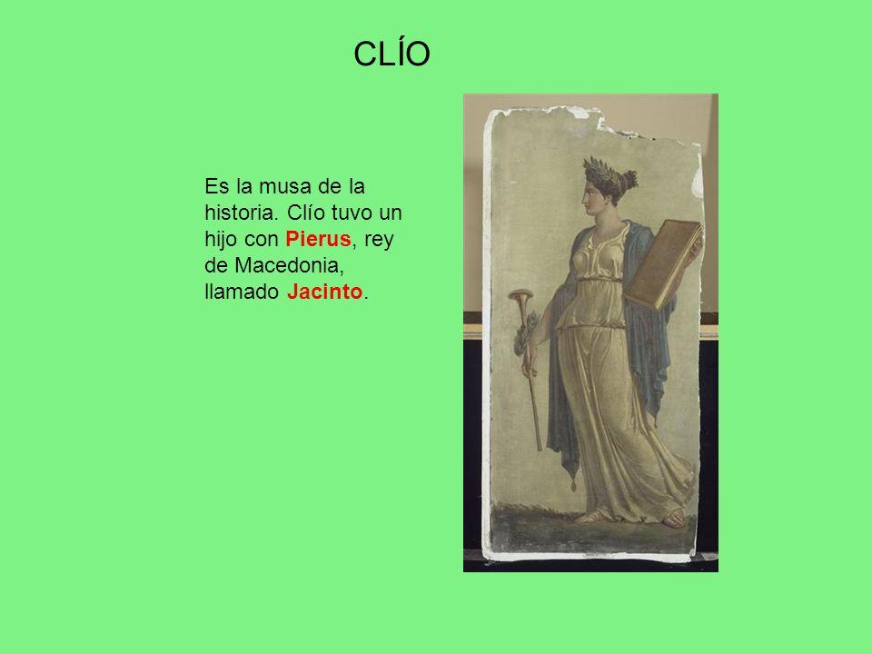 CLÍO Es la musa de la historia. Clío tuvo un hijo con Pierus, rey de Macedonia, llamado Jacinto.