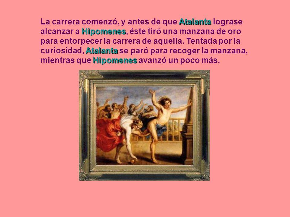 La carrera comenzó, y antes de que Atalanta lograse alcanzar a Hipomenes, éste tiró una manzana de oro para entorpecer la carrera de aquella.