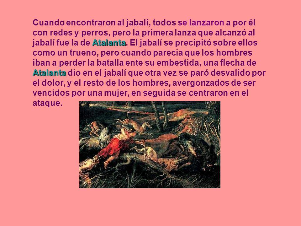 Cuando encontraron al jabalí, todos se lanzaron a por él con redes y perros, pero la primera lanza que alcanzó al jabalí fue la de Atalanta.