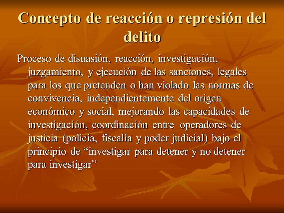 Concepto de reacción o represión del delito