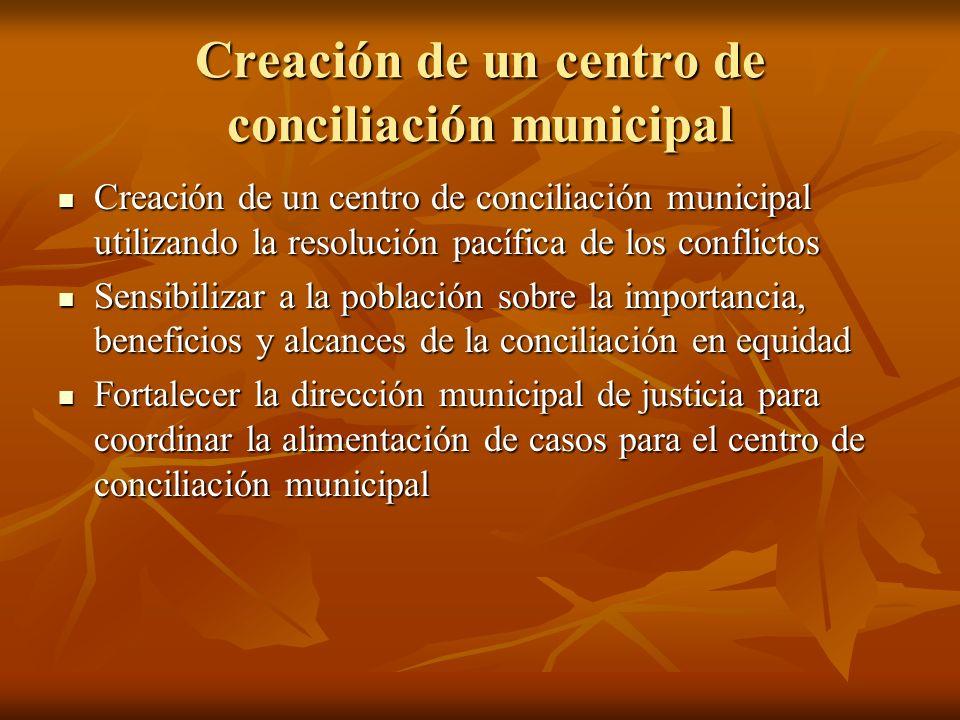 Creación de un centro de conciliación municipal