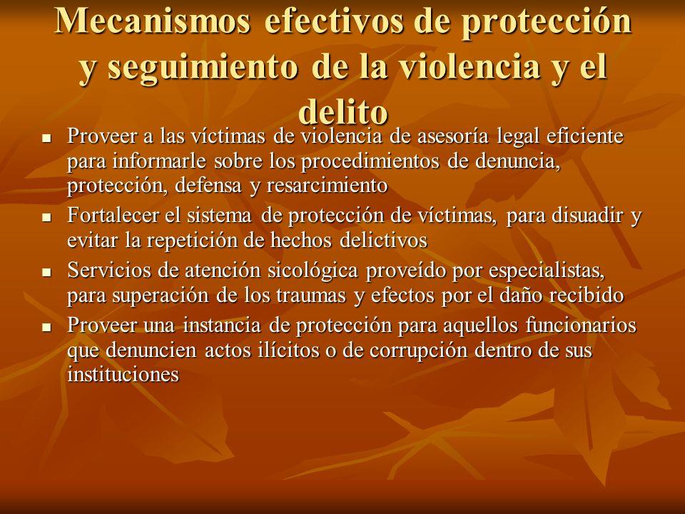 Mecanismos efectivos de protección y seguimiento de la violencia y el delito
