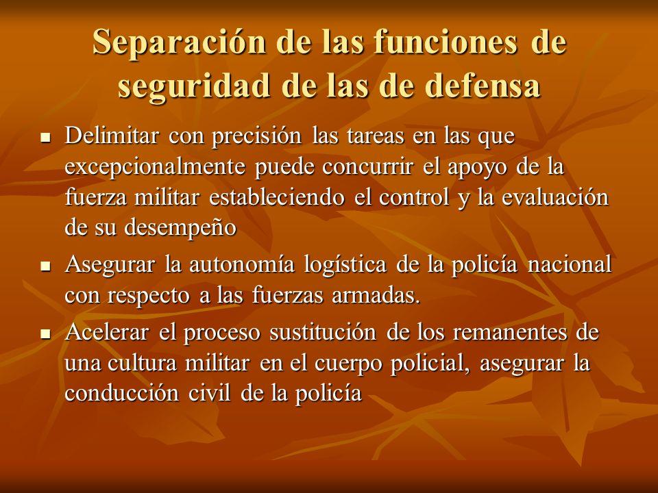 Separación de las funciones de seguridad de las de defensa