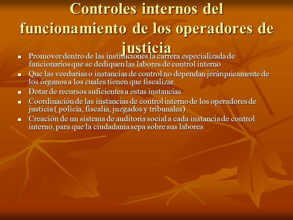 Controles internos del funcionamiento de los operadores de justicia
