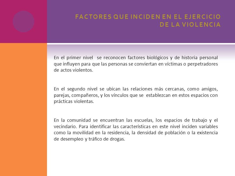 FACTORES QUE INCIDEN EN EL EJERCICIO DE LA VIOLENCIA