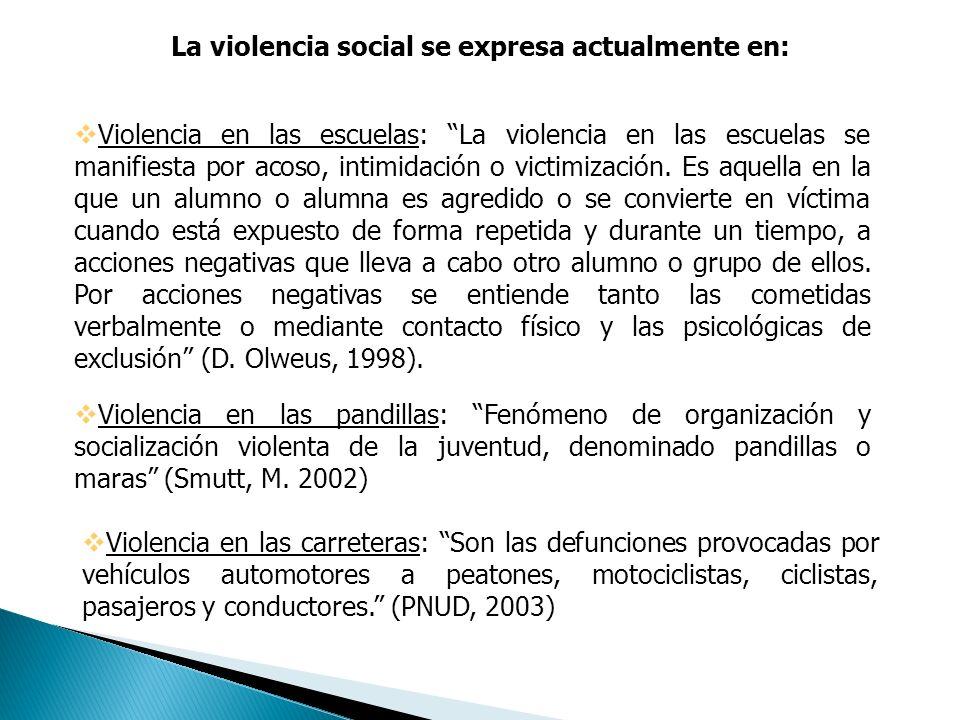 La violencia social se expresa actualmente en: