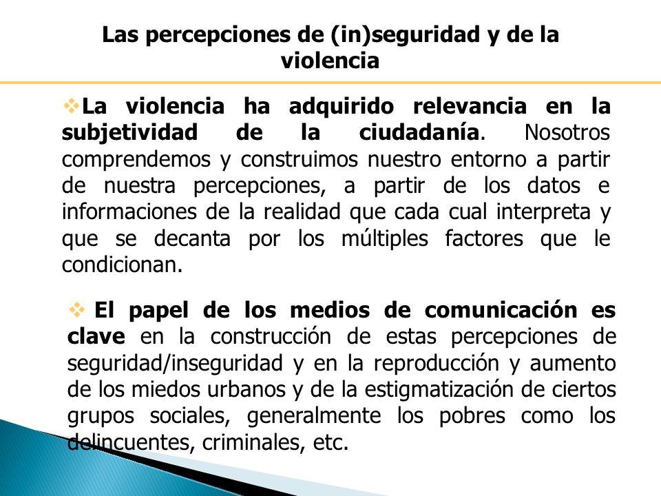 Las percepciones de (in)seguridad y de la violencia