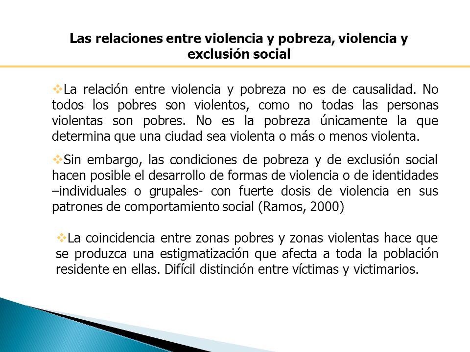 Las relaciones entre violencia y pobreza, violencia y exclusión social