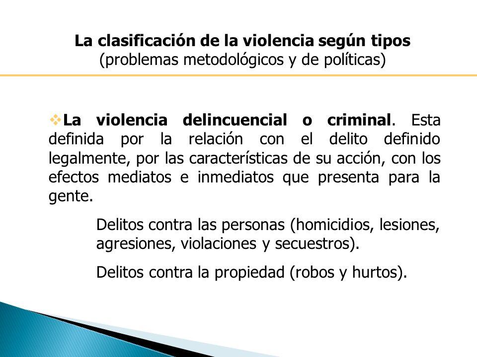 La clasificación de la violencia según tipos (problemas metodológicos y de políticas)