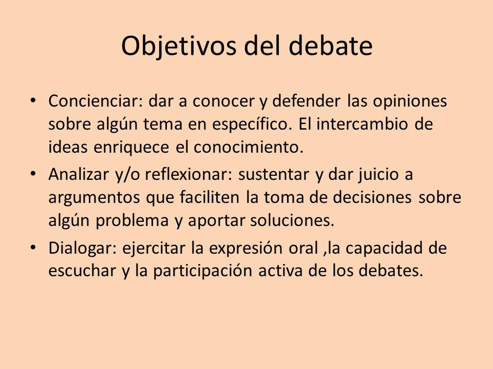 Objetivos del debate