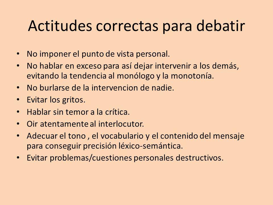 Actitudes correctas para debatir