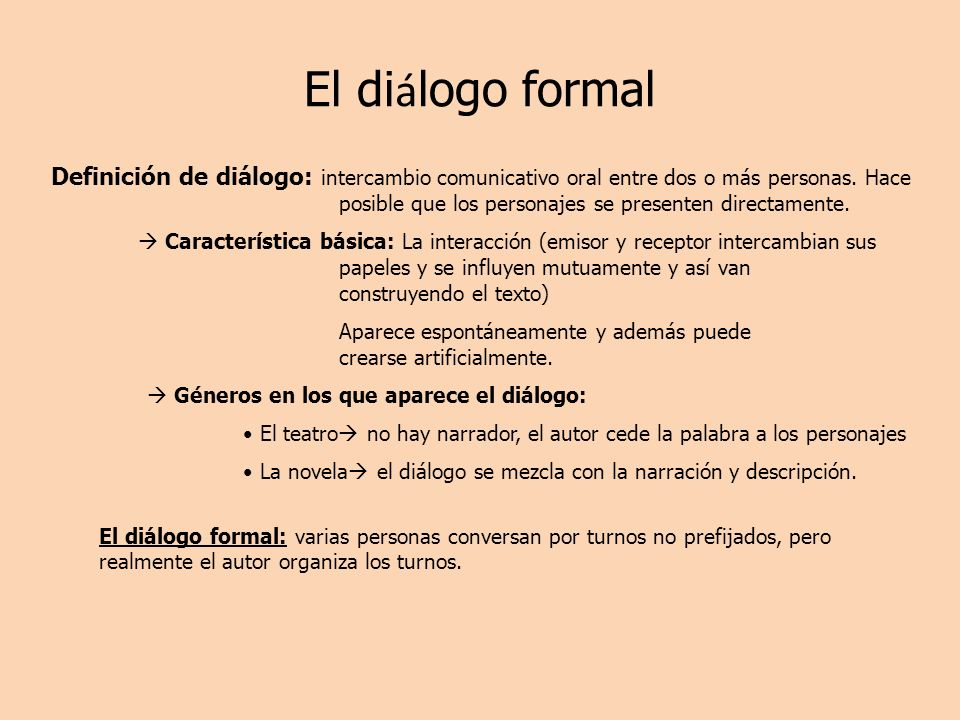 El diálogo formal