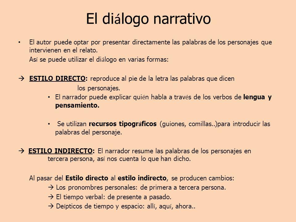 El diálogo narrativo El autor puede optar por presentar directamente las palabras de los personajes que intervienen en el relato.