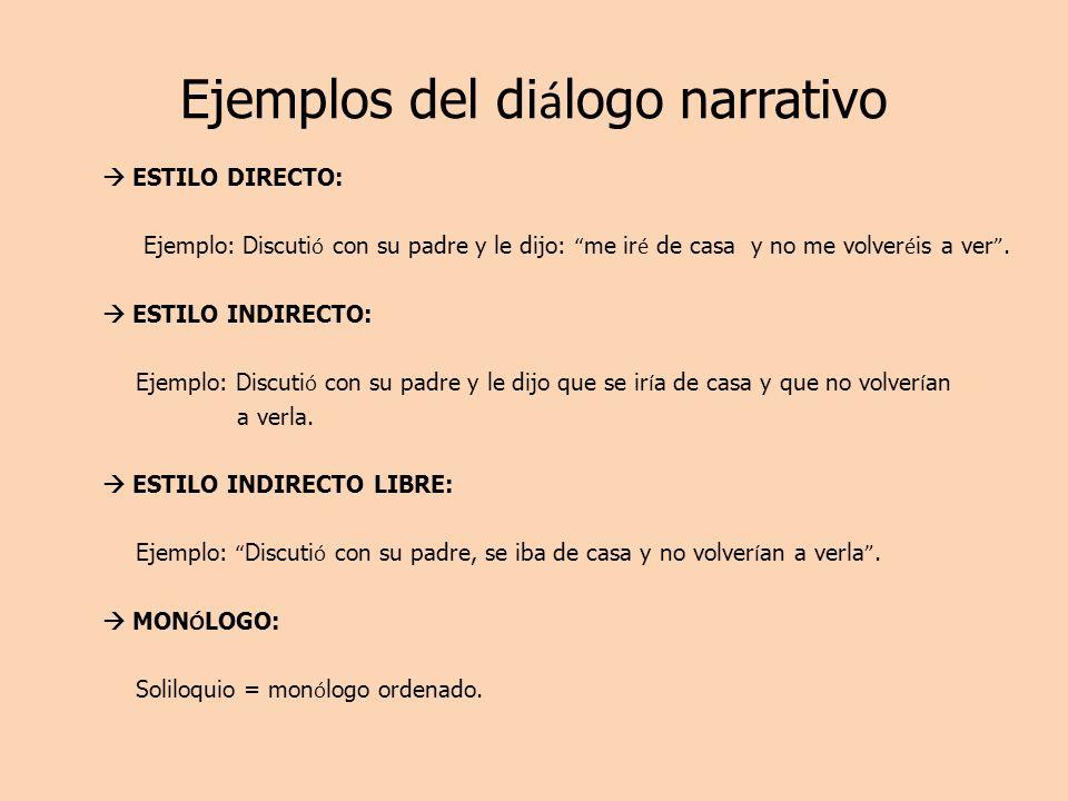 Ejemplos del diálogo narrativo
