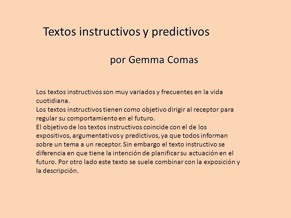 Textos instructivos y predictivos