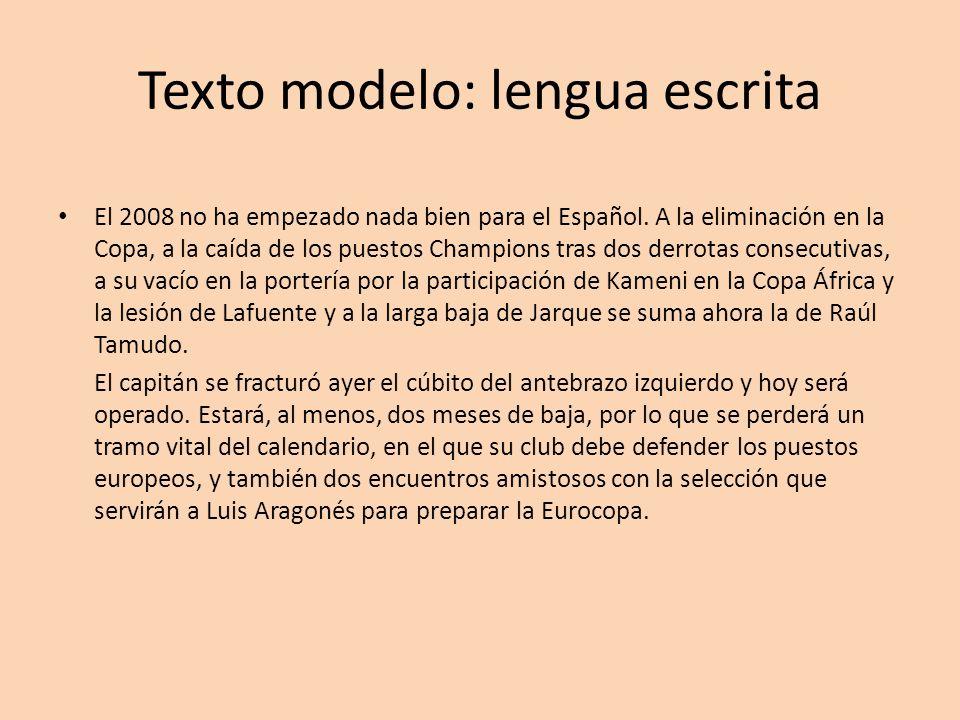 Texto modelo: lengua escrita