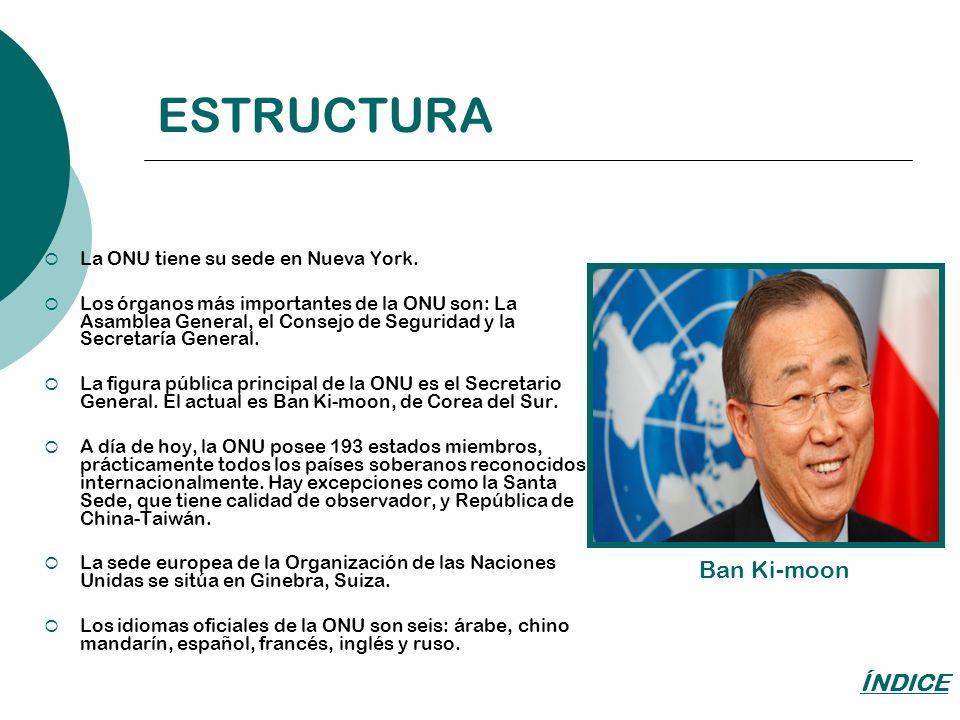 ESTRUCTURA Ban Ki-moon ÍNDICE La ONU tiene su sede en Nueva York.