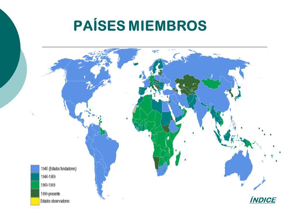 PAÍSES MIEMBROS ÍNDICE