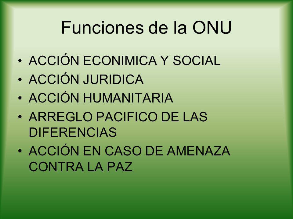 Funciones de la ONU ACCIÓN ECONIMICA Y SOCIAL ACCIÓN JURIDICA