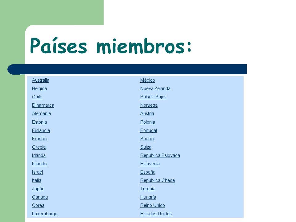 Países miembros: Australia México Bélgica Nueva Zelanda Chile