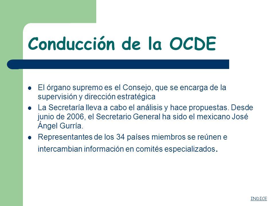 Conducción de la OCDE El órgano supremo es el Consejo, que se encarga de la supervisión y dirección estratégica.