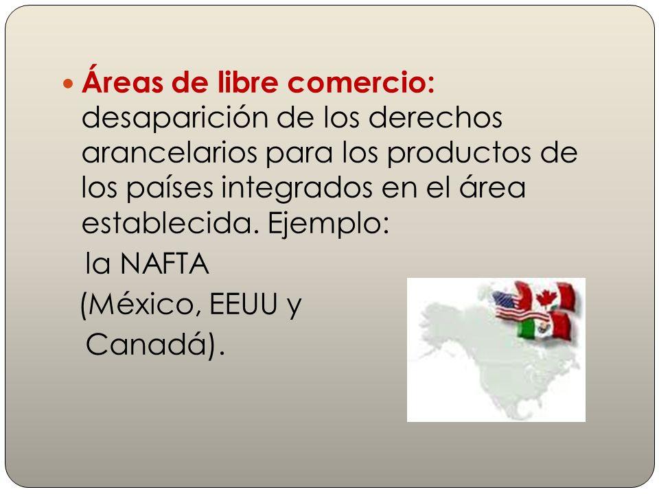 Áreas de libre comercio: desaparición de los derechos arancelarios para los productos de los países integrados en el área establecida. Ejemplo: