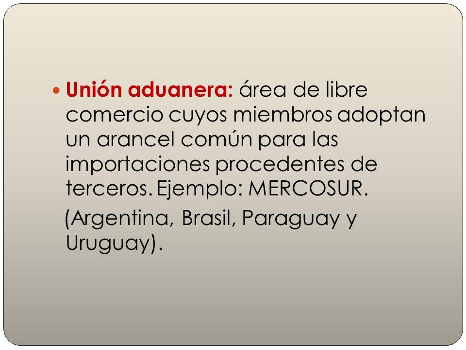 Unión aduanera: área de libre comercio cuyos miembros adoptan un arancel común para las importaciones procedentes de terceros. Ejemplo: MERCOSUR.