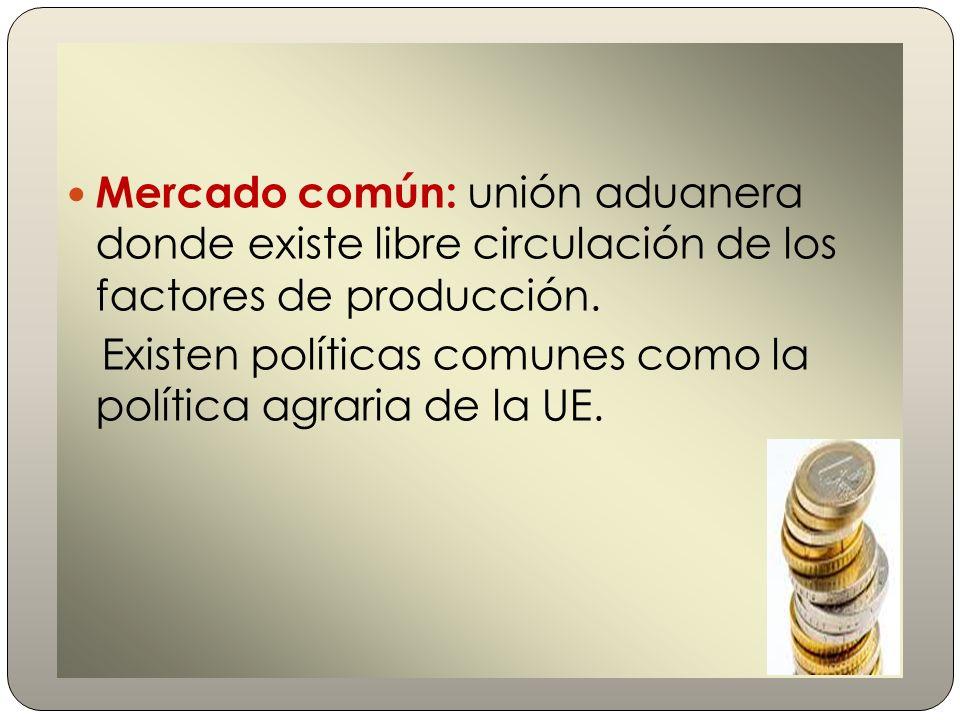 Mercado común: unión aduanera donde existe libre circulación de los factores de producción.