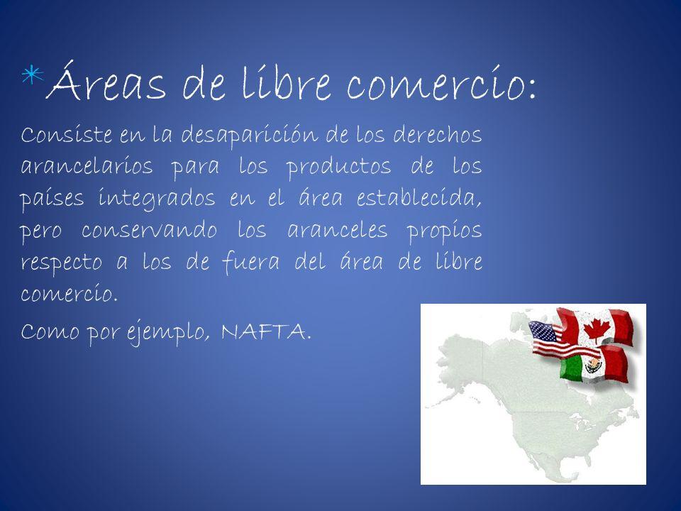 *Áreas de libre comercio: